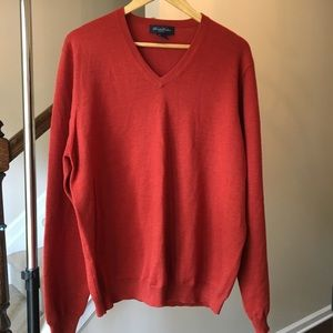Brooks Brothers V-Neck Merino Wool Sweater L 🍁